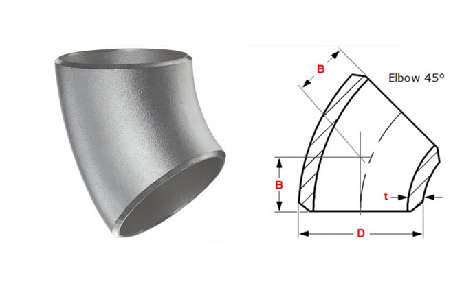 Dimensions Standard Of Schedule 10 Buttweld 45 Degree Pipe Elbow